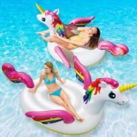 Φουσκωτό στρώμα θαλάσσης-πισίνας σε σχήμα μονόκερου Unicorn Ride-on